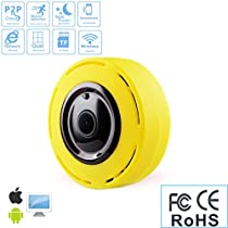 360 ° Panoramic IP Fisheye Camera, WIFI 2.4G 960P Bi-directional Voice Intercom Security Camera, Outdoor Ultra Wide Angle, Support Infrared Night Vision Motion Detection (Yellow)