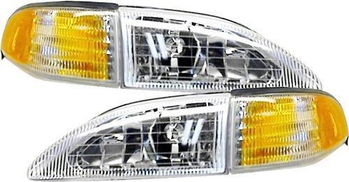 (Tiffin Allegro Bus Diesel 1998-2000 RV Motorhome 4 Piece Set Left & Right Replacement Front Headlights & Turn Signal Corner Lights)