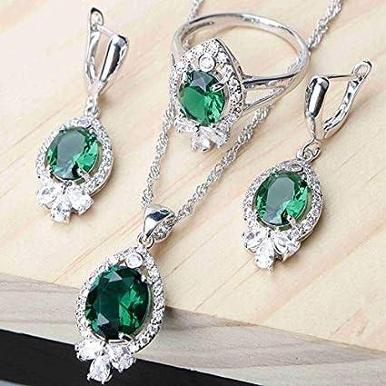 Beautiful GREEN EMERALD  Set 925 Silver Necklace Pendant Earrings Ring