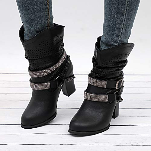 Stivali Invernali Blocco Tacco Boots Tacco Stivali Stivali Nero Casual Sexy Donna Autunno Stivaletti Tacchi Alti Con Yesmile Martin qSgwx