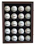 20 Baseball Display Case Cabinet, with 98% UV protection. with Lock and Keys (Cherry Finish)