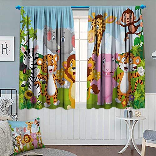 (Chaneyhouse Nursery Waterproof Window Curtain Comic African Savannah Animals Playful Friendly Safari Jungle Happy Wildlife Nature Blackout Draperies for Bedroom 55