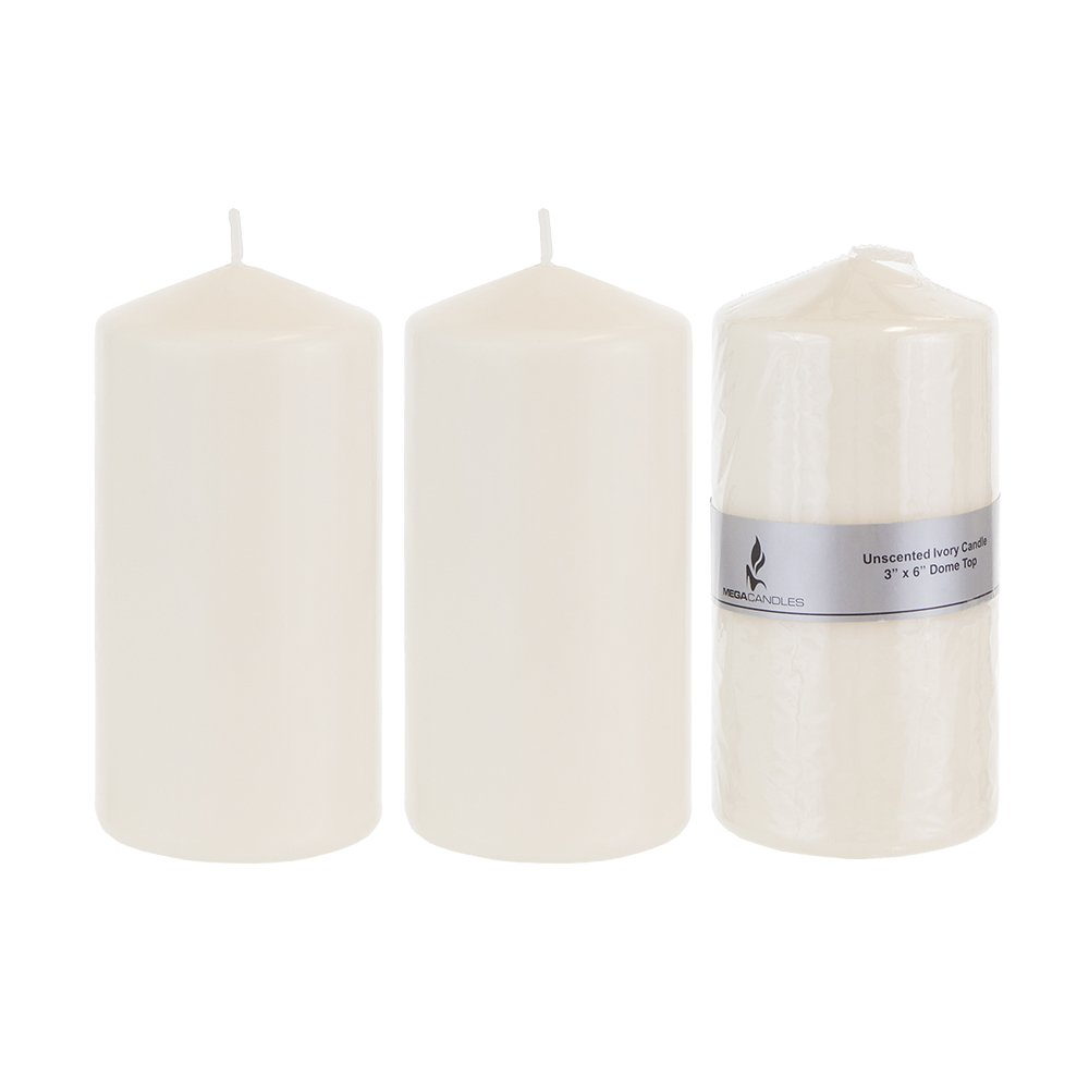 Mega Candles - Unscented 3'' x 6'' Round Pillar Candle - Ivory, Set of 3