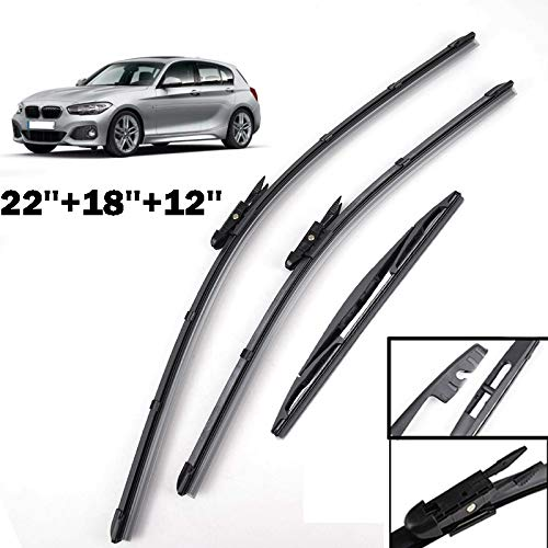 Xukey Front + Rear Windshield Wiper Blades Set Fit For BMW 1 Series F20 F21 2012-2017 (Set of 3)