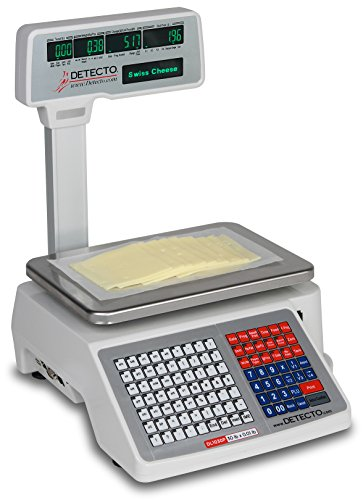Detecto DL1030P Deli Scale with Integral Printer, Tower Pole Display, 30 lb. x 0.01 lb. - Commercial Label Printers