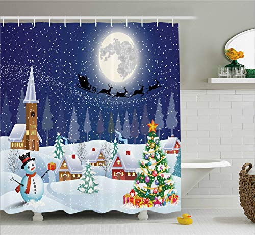 Ambesonne Christmas Shower Curtain, Winter Season Snowman Xmas Tree Santa Sleigh Moon Present Boxes Snow and Stars, Fabric Bathroom Decor Set with Hooks, 75 Inches Long, Blue White]()