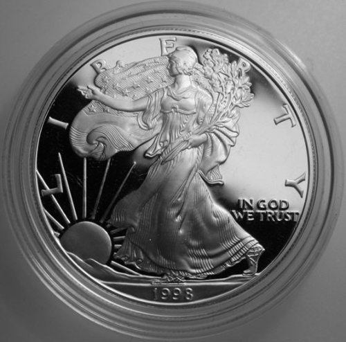 1998 Proof American Eagle Silver Dollar with Original Packaging