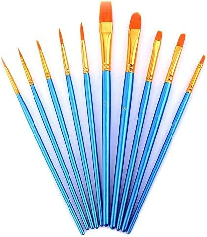 12pcs Paint Brush Set for Watercolor//Oil//Acrylic... LANIAKEA Flat Paint Brushes