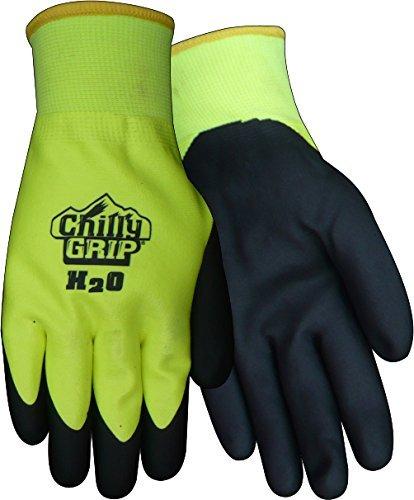 Red Steer A324-M H2O Waterproof Thermal-lined Black/Hi-Vis Medium Full Fingered Work & General Purpose Gloves - Nitrile Over Dip Coating [PRICE is per PAIR]