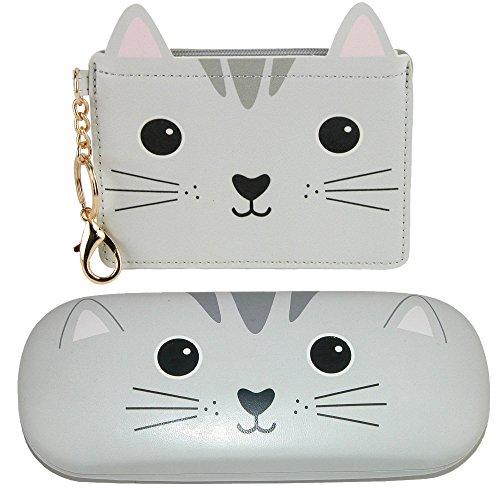 Sass & Belle Nori Cat Kawaii Friends Coin Purse and Glasses Case Set, Grey