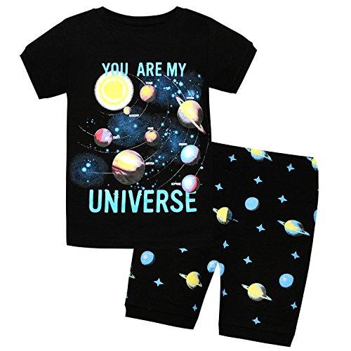 AMGLISE Kids Little Boys Solar System Short Sleeve Pajamas 2 Piece Set 100% Cotton Sleepwear PJS Black (Kid 2 Piece Pjs)