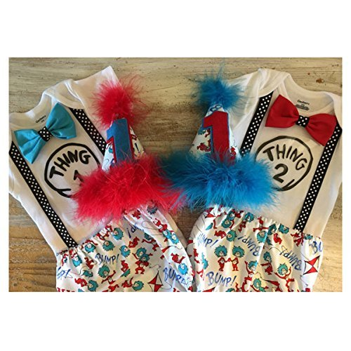 Amazon Dr Seuss Thing 1 2 Cake Smash Boys First Birthday Outfit W Onesie Bow Tie And Party Hat Handmade