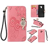 Glitter Diamond Wallet Samsung Galaxy A8 2018 Case,Ostop Pink PU Leather Embossed Flower Luxury Stand Purse,3D Owl Bling Rhinestone Crystal Magnetic Closure Flip Cover,Credit Card Holder Shell