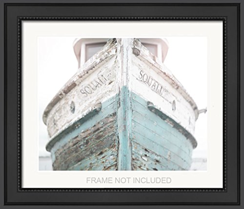 Nautical Ship, Beachy, Beach Print, Cottage Decor, Sea, Rustic Wall Art, Teal Fixer Upper, Bathroom, 8x10 Matted print