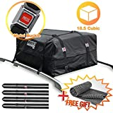 100% Waterproof Roof Cargo Bag 18.5 Cubic Ft Dual Seam with Heavy Duty Metal Buckle Straps Top Carrier Storage Box Bonus 1 Rooftop Protective Mat Fit for Cars with/Without Racks(4 Straps)