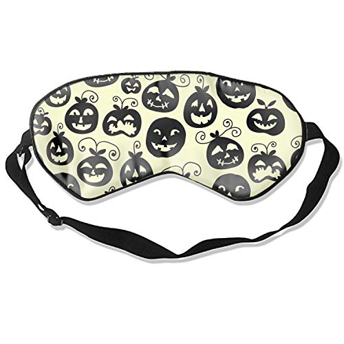 Sleep Eyes Masks Covers Hand Drawn Halloween Print Silk Sleeping Adjustable Strap -