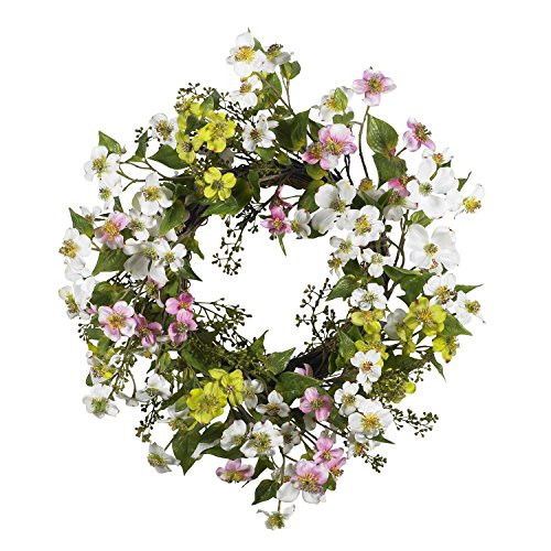 Nearly Natural 20in Dogwood Wreath