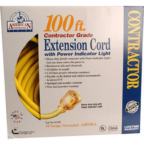 Coleman Cable 01799 10/3 Contractor Extension Cord with Lighted End by Coleman Cable