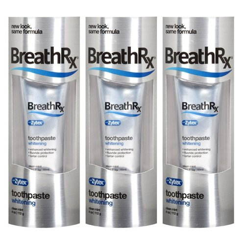 BreathRx Whitening Toothpaste, 4-Ounce Tubes. Family Size (Pack of 3)