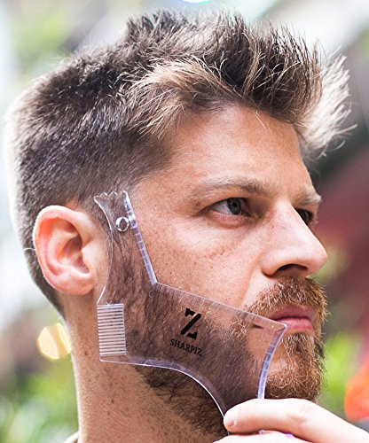 Multi Curve Beard Shaping Tool Liner Template by Sharpiz | Transparent Stencil Shaper Comb for Styling with Trimmer, Razor or Clippers | The Perfect Gift Including a Lineup Pencil & Grooming (Step 2 Minoxidil)