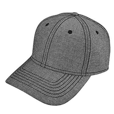 DALIX Premium Chambray Low Crown Cap Curved Bill 6 Panel Hat Black Gray Navy Blue Red