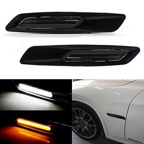 iJDMTOY BMW F10 Style White/Amber Switchback LED Light Black Finish Side Marker Lamps For BMW E90 E92 E60 1 3 5 Series X1 (Series Light Marker Side)