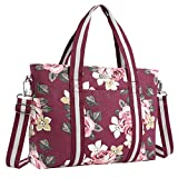 MOSISO Laptop Tote Bag (Up to 17.3 Inch), Canvas Classic Rose Multifunctional Work Travel Shopping Duffel Carrying Shoulder Handbag Compatible Notebook, MacBook, Ultrabook and Chromebook, Wine Red