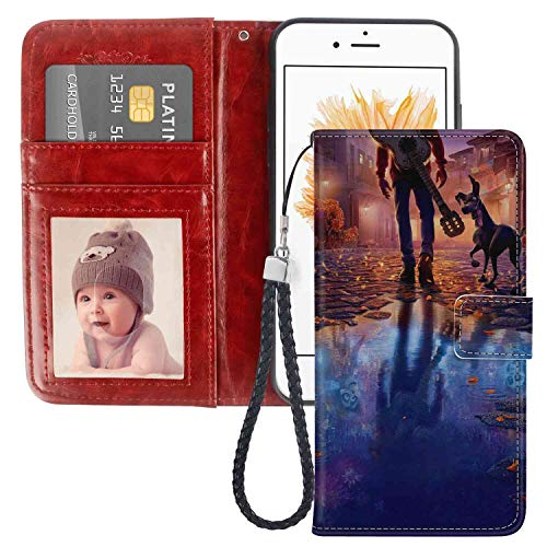 Wallet Case Fit iPhone 5 (2012) iPhone 5S (2013) iPhone SE (2016) [5.5inch] Disney Coco Movie Illustration Leather