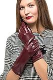 Long Sleeve Leather Zipper Gloves For Women, Touchscreen Cold Weather Long Sleeve Gloves - With Thinsulate Liner - Burgundy - Large