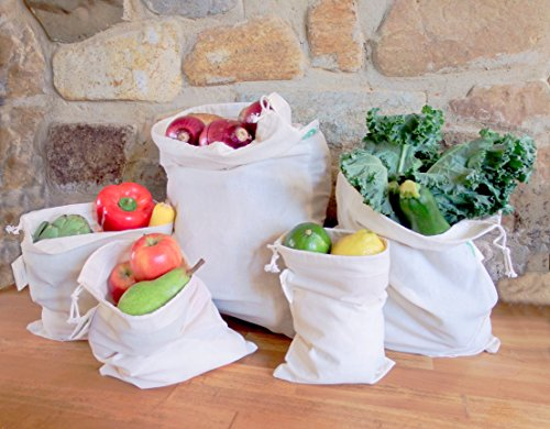 Organic Cotton Veggie Toys - Reusable Bulk Bin Bags for Bulk Foods - Reusable Dry Goods Bags - Cloth Kitchen Bags - Organic Cotton Reusable Muslin Produce Bags - Home Storage Bags - Toy Bags (3 Large, 3 X-Large)