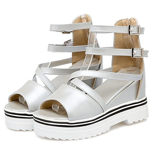 COOLCEPT Mujer Moda Correa de Tobillo Sandalias Punta Abierta Elevator Interior Zapatos Plata
