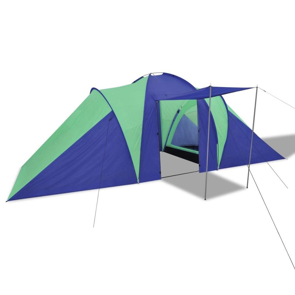 vidaXL Tenda da Campeggio per 6 Persone Blu Marino//Verde