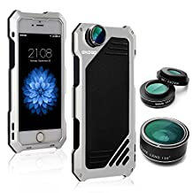 iPhone 6/6s Camera Lens Kit, OXOQO 3 in 1 198° Fisheye Lens + 15X Macro Lens + Wide Angle Lens with IP54 Dustproof Shockproof Aluminum Case, Built-in Screen Protector for IPhone 6/6s 4.7 Inches(Silver)