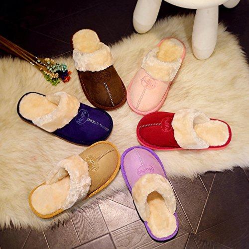 Paio di pantofole di cotone home inverno pantofole di peluche inverno femmina indoor home spessore impermeabile pavimento antiscivolo pantofole uomini e ,38-39 (raccomandazioni 35-36 piedi usura, orec