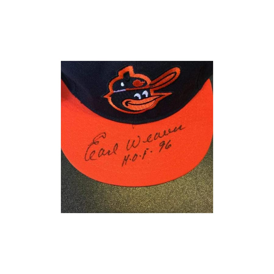 "Earl Weaver""HOF 1996"" Signed Game Model Baltimore Orioles Hat COA PSA/DNA Certified Autographed Hats"
