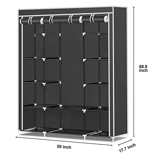 Herron Clothes Closet Portable Storage Organizer Wardrobe Closet with Nonwoven Fabric - Quick and Easy to Assemblely - Extra Strong and Durable - Extra Space - Black- 59 inch - bedroomdesign.us