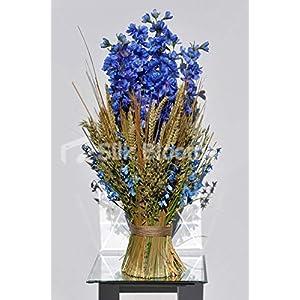 Artificial Preserved Oats, Wheat and Blue Silk Delphinium Vase Arrangement w/Bluebells 38