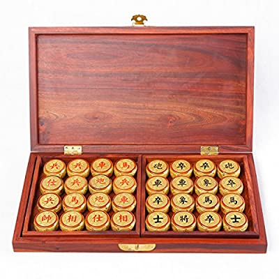 YINYMM Golden silk, Chinese chess, solid wood folding chess board, business gift set, three-dimensional carving.,4.8cm chessman