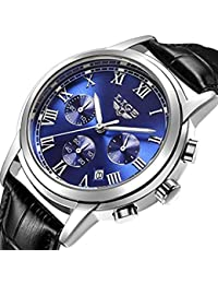 Watch Men Leather Strap Watches Men's Chronograph...