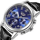 Watch Men Leather Strap Watches Men's Chronograph Waterproof Sport Date Quartz Wrist Watch Blue