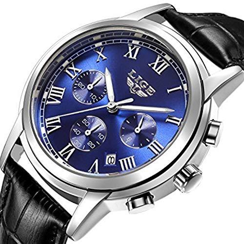 Watch Men Leather Strap Watches Men's Chronograph Waterproof Sport Date Quartz Wrist Watch Blue by LIGE