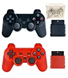 Saloke 2 Packs Wireless Gaming Controllers for Ps2 Double Shock (Black and Red)