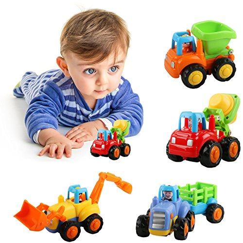 Friction Powered Car Toys, AMILE 4 PCS Push and Go Construction Vehicles Cars, Early Educational Toddler Toys for 1-3 Year Old Kids by AMILE
