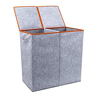 "Chrislley Large Double Laundry Hamper Lids Dirty Laundry Basket Collapsible Tall Home Laundry Hamper Sorter (Grey) - WARM REMINDER AND WORRY-FREE GUARANTEE - All customers enjoy 30 Day Money Back Guarantee. Customers can return and get refunded in case the purchasing is not satisfactory for any reason. Dimensions: 14.57""x26.78""x26.66""(L*W*H),large capacity. The dual handles are really strong for easy carry. - laundry-room, hampers-baskets, entryway-laundry-room - 51aiUNZZtrL. SS400  -"