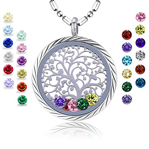 Birthstone Family Tree of life Screw Floating Charm Living Memory Locket Pendant Necklace for mothers birthday Gifts for mom, daughter, her, wife, sister, christmas, girls, women, Grandmother(Engraving) - Family Tree Birthstone Necklace