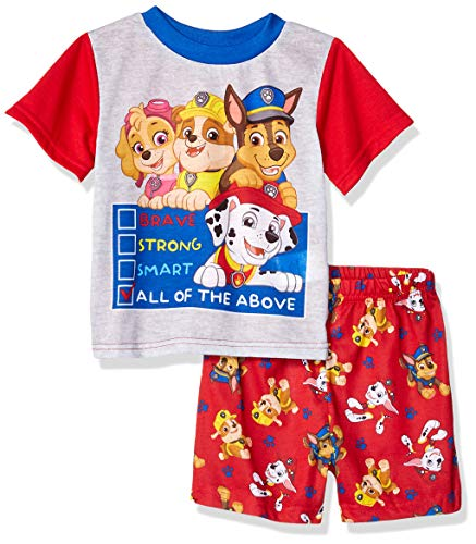 Nickelodeon Boys' Toddler Paw Patrol 2-Piece Pajama Set, Brave red, 4T ()