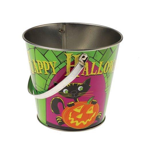 One Decorative Halloween Theme Mini Metal Bucket With Handle - 4.75