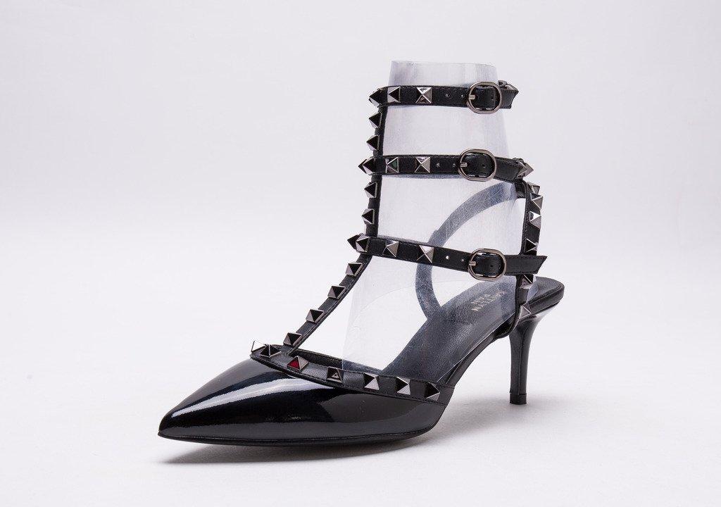 Kaitlyn Pan Pointed Toe Studded Slingback Kitten Heel Leather Pumps B01B78UJ6I 6US/ 36EU/ 36CN|Black Patent/Black Trim/Gun Black Studs