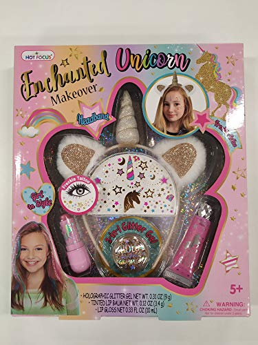 HOT Focus Enchanted Makeover – Unicorn. Unicorn Headband, 1 Jar of Glitter, 1 Sheet of Freckle Tattoos, Lip Gloss & Lip Balm. Shimmering and Sparkling Beauty for Kids/Girls. Perfect for Any Occasion.