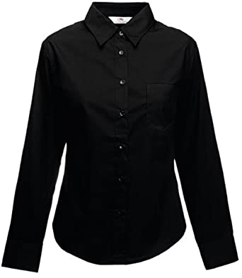 1d05c93f2fc Fruit of The Loom Lady-Fit Poplin Long Sleeve Shirt Women Work/Formal Plain  Blank Stand Collar Shirt Ladies Casual Shirt Womens Office Work Business  Shirt: ...